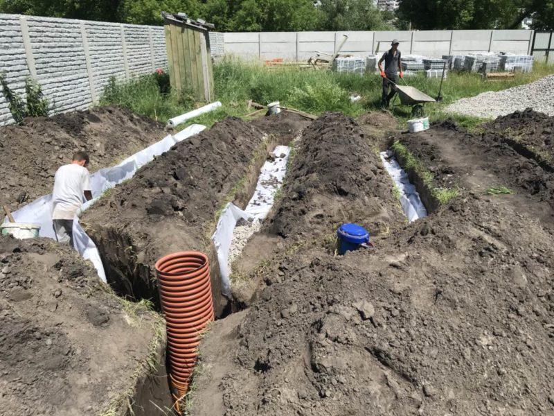 Водоотвод с дренажным полем